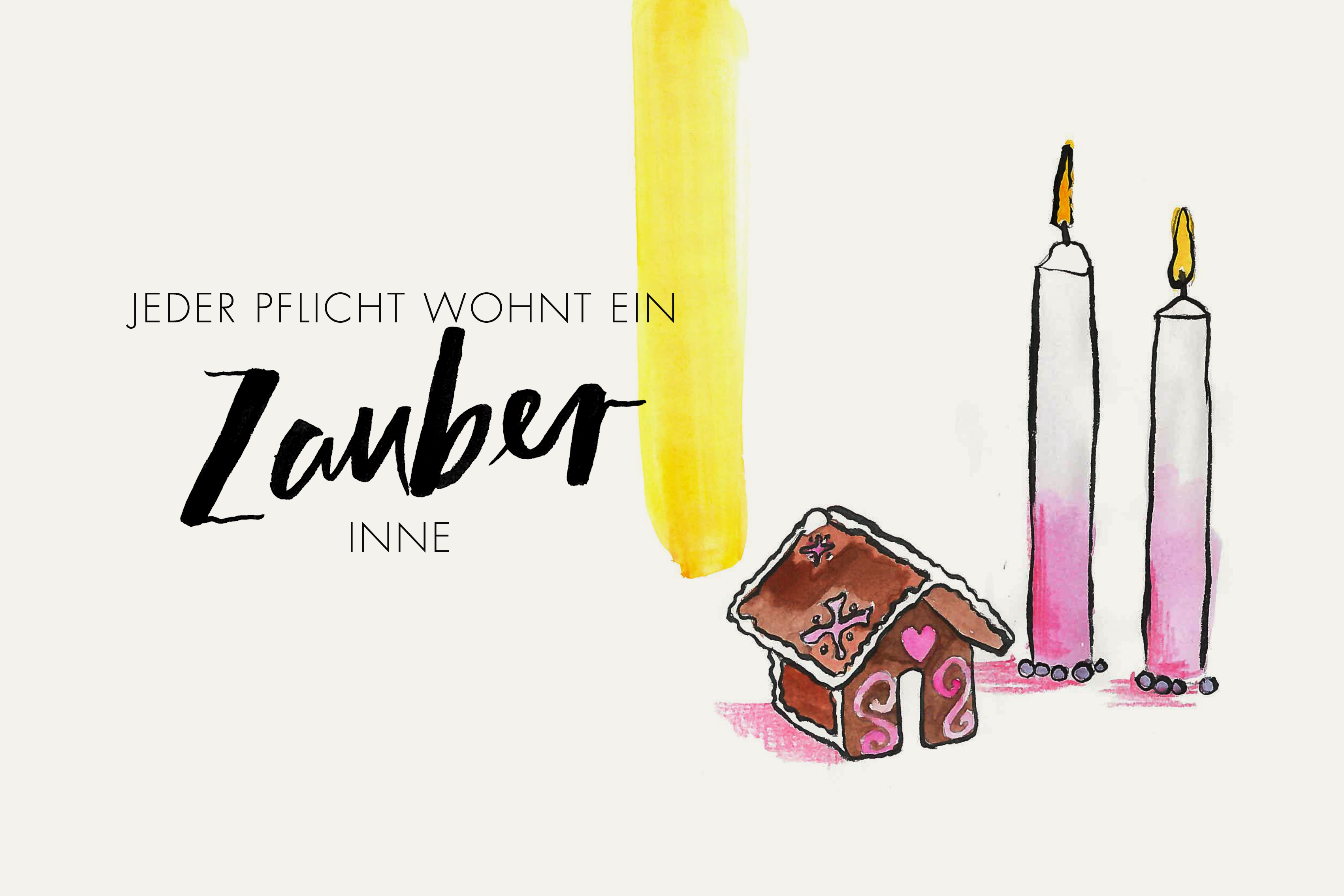 illusration_lettering_weihnachten_aquarell_lebkuchen_kerzen