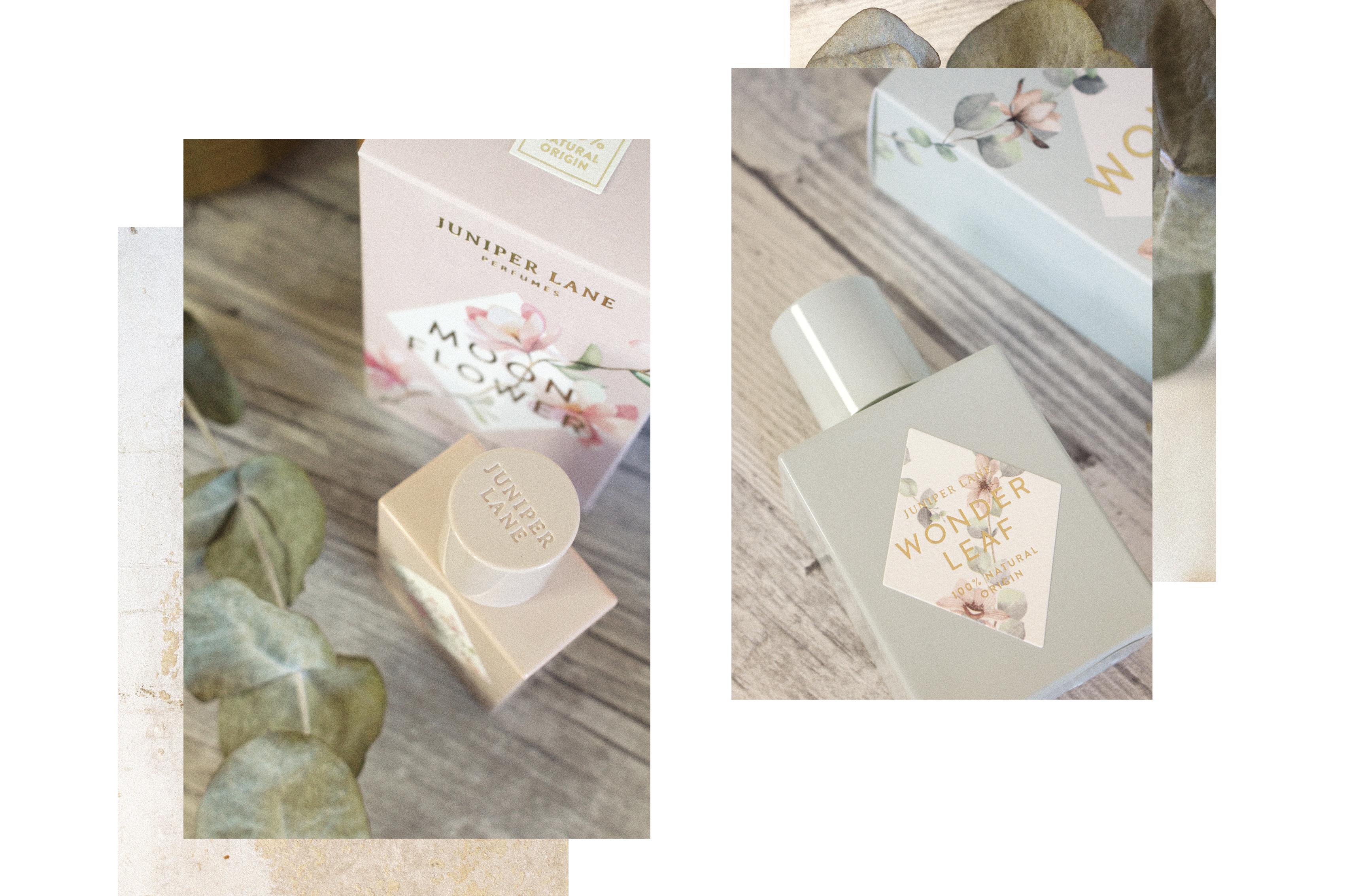 Juniper Lane Parfums Moonflower und Wonderleaf Verpackungen und Flakons