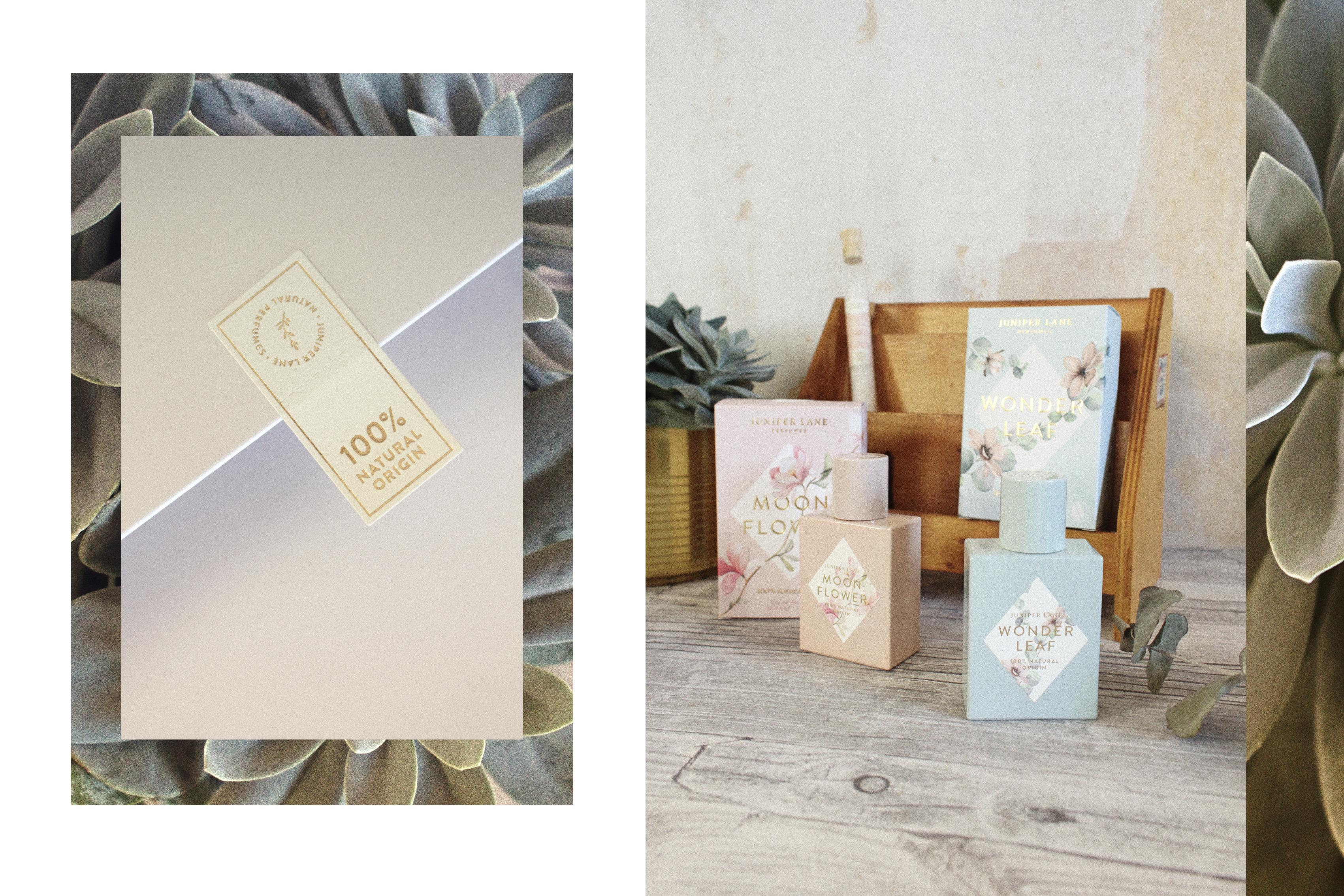 Juniper Lane Parfums Moonflower und Wonderleaf Flakons und Verpackung