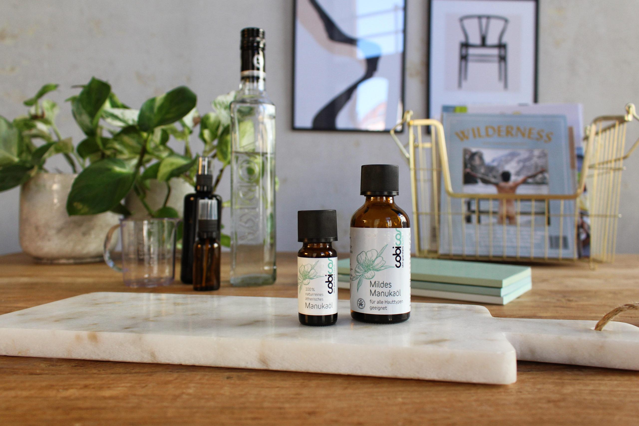DIY Desinfektionsmittel ätherisches Manukaöl und Mildes Manukaöl von cobicos Naturkosmetik