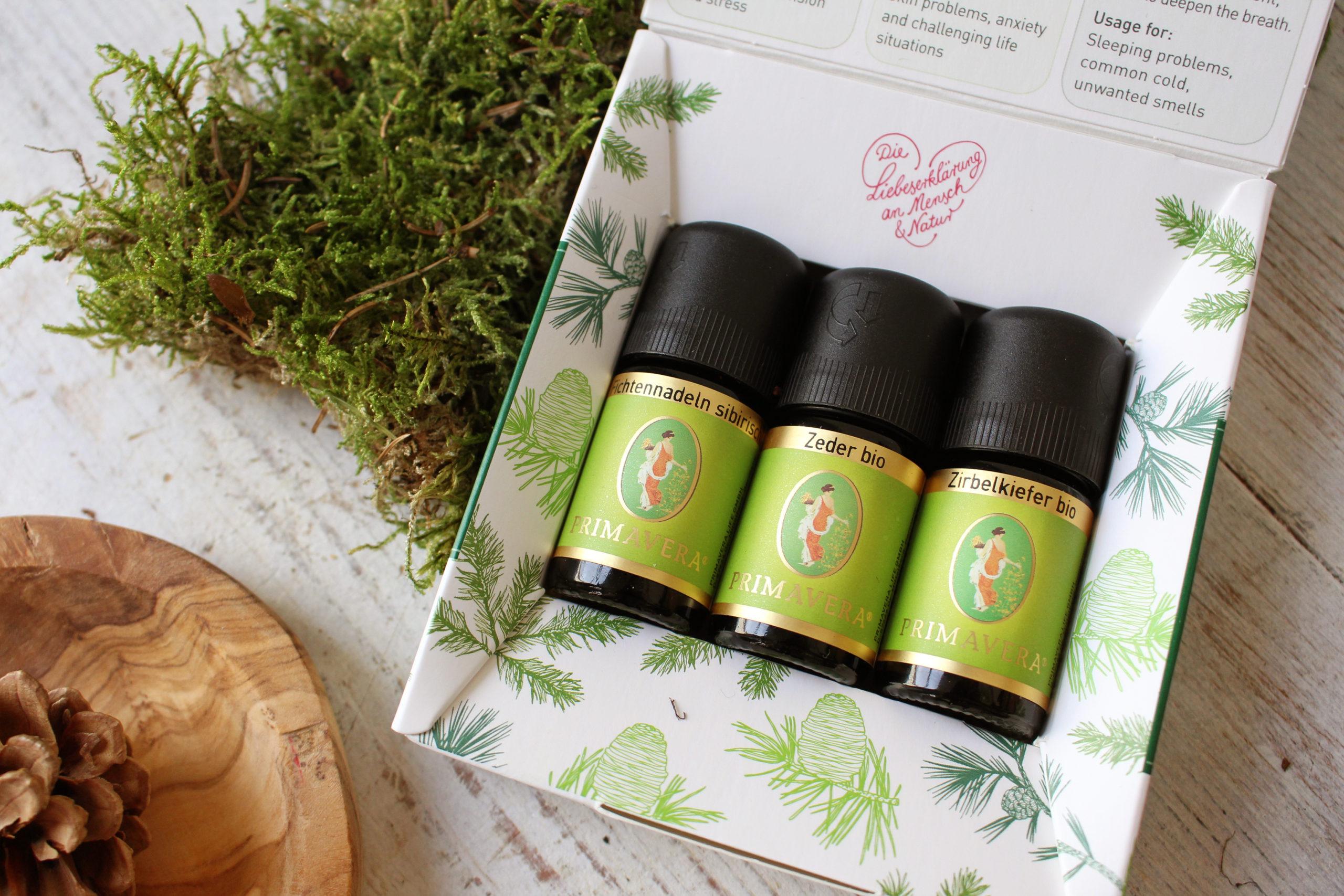 ätherische Baumöle duftende Waldkraft Set mit Fichtennadel, Zeder und Zirbelkiefer